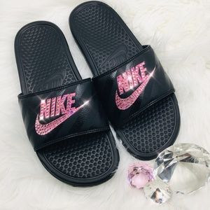 44e5ce18e6ecf Bling Nike Benassi JDI Slides w Swarovski Crystals